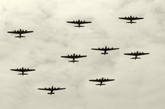 Heavy bombers. Group of World War II heavy bombers on a mission Royalty Free Stock Photos