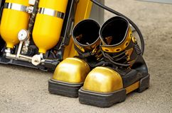 Heavy boots of the diver. Royalty Free Stock Photography