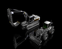 Heavy building bulldozer. And excavator on a black background Stock Images