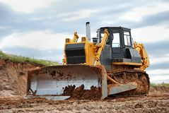 Heavy bulldozer. Standing on the ground outdoors Royalty Free Stock Images