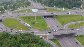 Heavy car traffic, busy city road junction, rush hour aerial. Stock footage stock video