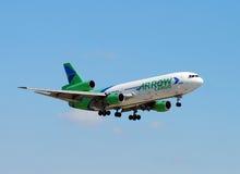 Heavy cargo jet landing Stock Image