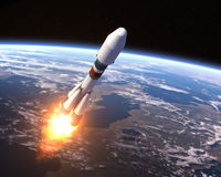 Heavy Carrier Rocket Launch Royalty Free Stock Photos