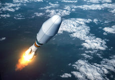 Heavy Carrier Rocket Launch In The Clouds Royalty Free Stock Photography