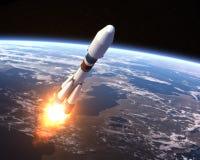 Heavy Carrier Rocket Launch. 3D Scene stock illustration