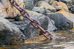 Heavy chain disappearing in the dark water Royalty Free Stock Image