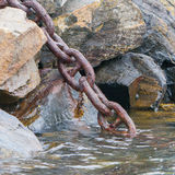 Heavy chain disappearing in the dark water Royalty Free Stock Images