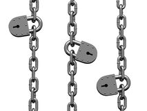 Heavy chain drooping parallel with iron locks. There is a clipping path Royalty Free Stock Photo