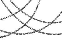 Heavy chains hang curved. There is a clipping path Stock Image
