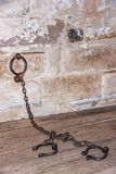 Heavy chains and shackles in Historic Goal building of Richmond, Tasmania, Australia