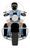 Heavy chopper motorcycle with rider front view Stock Photography