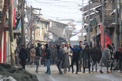 Heavy Clashes Erupt in Sopore town After Friday Prayers Royalty Free Stock Image