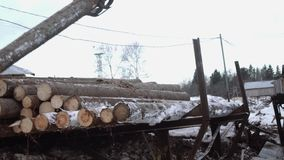 Heavy claw loader unloads wood logs from heavy truck at woodwork factory. Cold cloudy winter day stock footage