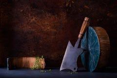 Heavy cleaver Chopper meat bone, seasoning herbs, Cooking concept stock image