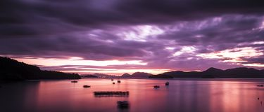 Sunrise in Langkawi with God Ray. Heavy cloud in langkawi with boat Stock Image
