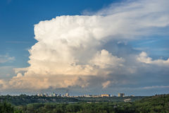 Heavy cloud  over downtown of Edmonton Royalty Free Stock Photo