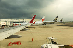 Heavy clouds coming at Singapore airport Stock Images