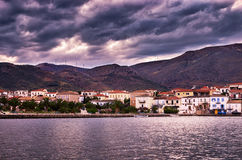 Heavy clouds at dusk, over Galaxidi, Greece Stock Image