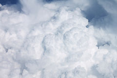 Heavy clouds out of an airplane window Royalty Free Stock Photo