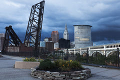 Heavy clouds over Cleveland Royalty Free Stock Image