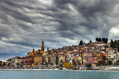 Heavy clouds over Menton Royalty Free Stock Photo
