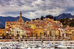 Heavy clouds over Menton Royalty Free Stock Image