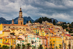 Heavy clouds over Menton Stock Image