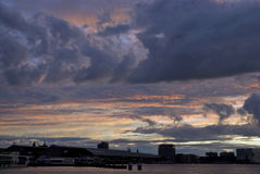 Heavy clouds skyline Amsterdam royalty free stock images