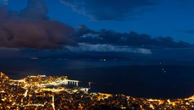 Panoramic view of the city. Heavy cloudscape over city of Kavala, Greece stock photography