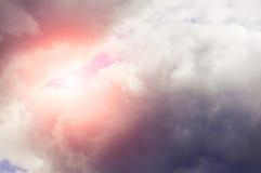 Heavy cloudy sky with sunlight.  Royalty Free Stock Photos