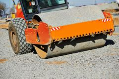 Heavy compactor roller at road work Royalty Free Stock Photography