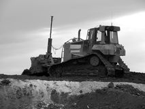 Heavy construction equipment b&w Stock Photography