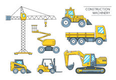 Heavy construction machinery transport outline icons. Heavy construction transport outline icons. Construction machinery flat line art collection. Vector Stock Images