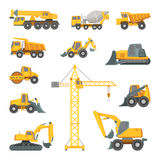 Heavy construction machines. Excavator, bulldozer and other technique. Vector illustrations in cartoon style. Bulldozer and digger equipment machine Royalty Free Stock Images
