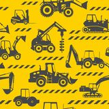 Heavy construction machines seamless background Stock Images