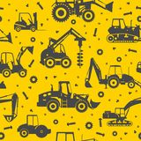 Heavy construction machines seamless background Royalty Free Stock Photo