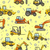 Heavy construction machines seamless pattern Stock Photos