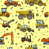 Heavy construction machines seamless pattern Royalty Free Stock Photography