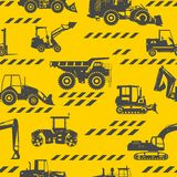 Heavy construction machines seamless pattern Stock Image