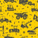 Heavy construction machines seamless pattern Royalty Free Stock Image