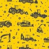Heavy construction machines seamless pattern Royalty Free Stock Photo