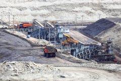 Heavy construction tipper trucks dump coal Royalty Free Stock Photography