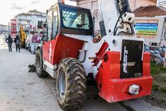 Heavy Construction Vehicle Parked On Side Street - Turkey Royalty Free Stock Photography
