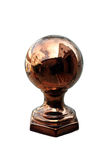 Heavy copper or brass globe on a wall outside a restaurant. With reflection of buildings in it stock photo