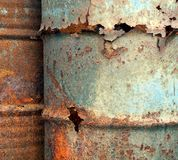 Heavy Corrosion of Oil Drums Royalty Free Stock Image