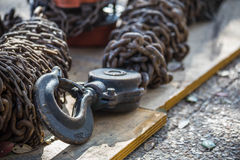 Heavy Crane Hook and Chains Stock Photos