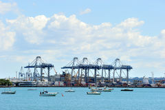 Heavy cranes at the port of Auckland Stock Photos