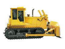 Heavy crawler bulldozer  isolated Royalty Free Stock Images