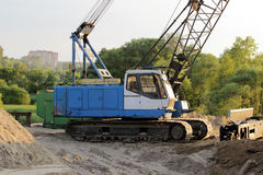 Heavy crawler crane at the construction site for the  of road transport interchanges in Moscow Stock Photo