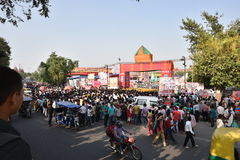 Heavy crowd trying to get into Ramlila (dramatic folk re-enactment of the life of Rama) Ground Royalty Free Stock Photos